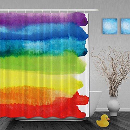 GYMNLJY Tenda della doccia in poliestere striscia colorata Bagno tenda