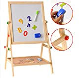 #7: FunBlast Wooden Educational Double Sided Foldable Drawing and Writing Board for Kids Comes with Magnetic Letters and Numbers
