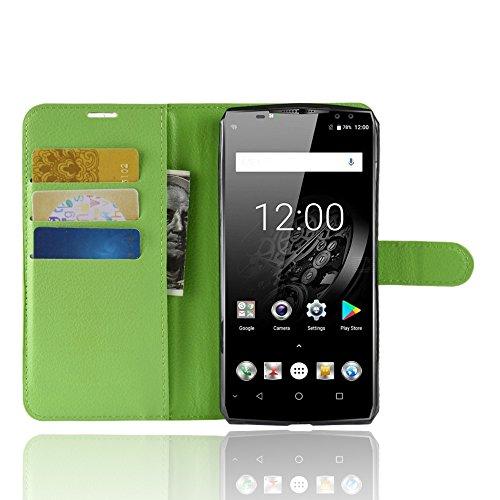 SPAK Oukitel K10 Wallet Hülle,Premium Leder Geldbörse Flip Schutzhülle Cover für Oukitel K10 (Grün)