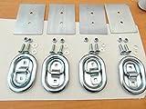 4 x AVB Zurrmulden Zurrösen Gr. 1 groß oval 800 daN mit Gegenplatten und Schrauben Ladungssicherung für Pkw Anhänger