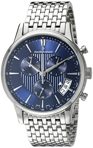 Claude Bernard Men's 01002 3M BUIN Classic Chronograph Analog Display Swiss Quartz Silver Watch