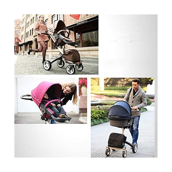 BABIFIS Baby Stroller High Landscape Can Sit Reclining Foldable Reversible Baby Four-wheeler Stroller E BABIFIS 75CM high landscape, two-way adjustment, SUV-level suspension, multi-turn adjustment, away from the car exhaust, breathing fresh air Height-adjustable, no need to change chairs, and easy to eat in parallel with most dining tables As a two-way adjustment, two orientations towards three seats, two-way implementation,Sleeping basket can be carried independently, 0-6 months baby's comfortable cot 3