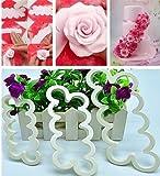 Haimoburg Tagliapasta Rosa Veloce Stampo Fiore Più Semplice per Realizzare Bordure Fiorali con Rose Perfetto per Torta a Piani, Torta Compleanno Nuziale Torte Artistiche (3 Pezzi)