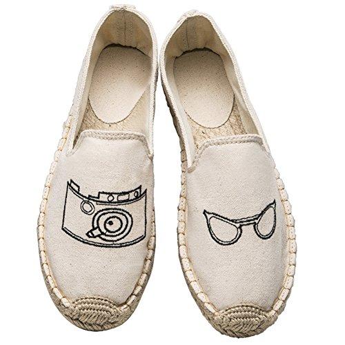Insun Unisex Erwachsene Espadrilles Handgemachte Gestickter Tuch Schuhe Flat Freizeitschuhe Beige Brille 34 EU