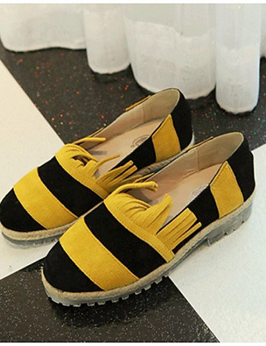 ZQ Scarpe Donna - Mocassini - Casual - Punta arrotondata - Basso - Finta pelle - Giallo / Bianco , yellow-us8 / eu39 / uk6 / cn39 , yellow-us8 / eu39 / uk6 / cn39 white-us5.5 / eu36 / uk3.5 / cn35