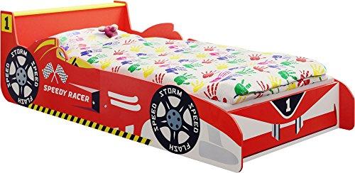 IB-Style- Lit Voiture Speedy Racer Junior pour Enfant - Formula 1 Rouge 140 x 70 cm avec Aile Arrière comme Une Table de Chevet et Lattes de sommier Inclus - Chambre d'enfant