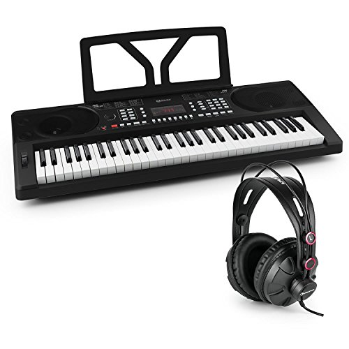 Schubert Etude 300 • Keyboard-Set • inklusive auna HR-580 Studiokopfhörer • 61 anschlagdynamische Tasten (5 Oktaven, C2 - C7) • LED-Display • Möglichkeit zum Netz- und Batteriebetrieb • schwarz
