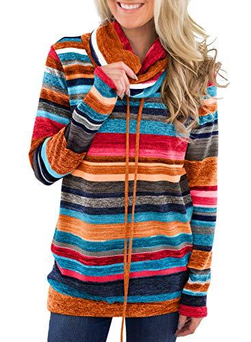 Dokotoo Femme Pull Hoodie Sweat Shirt à Manche Longue Sweater de Sport Col Roulé Blouse T Shirt Chaud Hiver