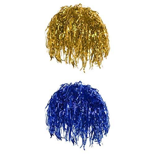Fenteer 2 Stück Gold Blau Metallic Lametta Perücke Folienperücke Kleid Kostüm 70er Jahre Disco Perücken