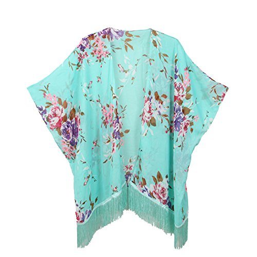 Rot Floral Kimono (Soul Young Damen Sommer floral bedruckte Chiffon Kimono Cardigan Schal Tops)