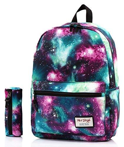 TRENDYMAX Galaxis Muster Schultasche, 42x30x16cm, 20 Liters, Rucksack Mäppchen Set, Grün