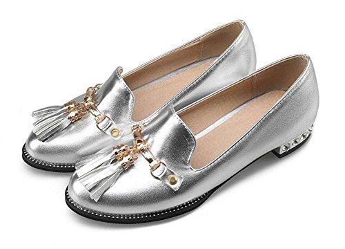 Donne chiuso Toe Pumps nappa del metallo dei sandali scarpe scarpe piane Scarpette Silver