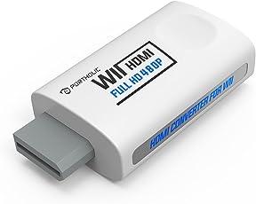 Wii zu HDMI Adapter Konsolen Adapter ,PORTHOLIC Wii Converter HDMI mit Audio über HDMI und extra 3,5mm Buchse für Audioausgang für TV Monitor Beamer Fernseher variable Auflösung