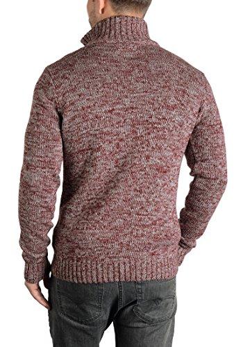 SOLID Herren Pomeroy Strickjacke Cardigan mit Stehkragen aus 100% Baumwolle Wine Red Melange (8985)
