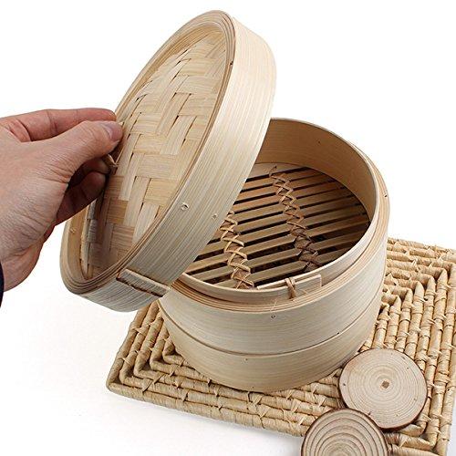 2-Tier Bamboo Steamer Dim-Sum Korb Reis NUDELKOCHER (2-tier-korb)