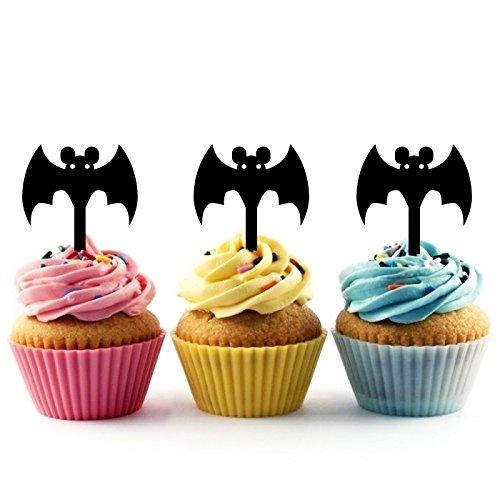 Innovedesire Cartoon Halloween Bat Kuchenaufsätze Hochzeit Geburtsta Acryl Dekor Cupcake Kuchen Topper Stand für Kuchen Party Dekoration 10 Stück