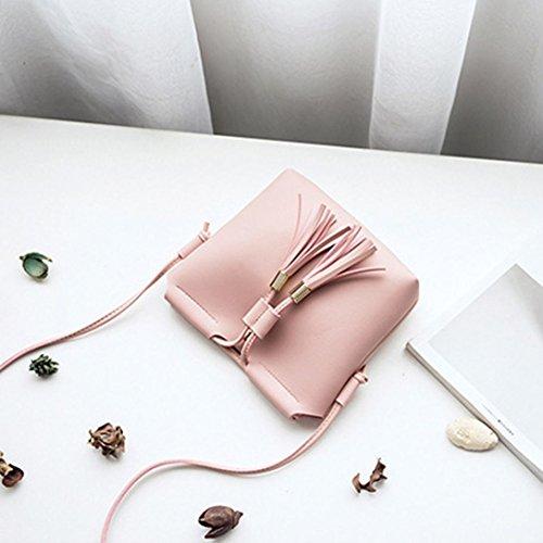 Longra Borsa del telefono mobile del raccoglitore del sacchetto del messaggero del sacchetto di spalla del sacchetto di spalla di colore solido delle donne di cuoio sintetico Rosa