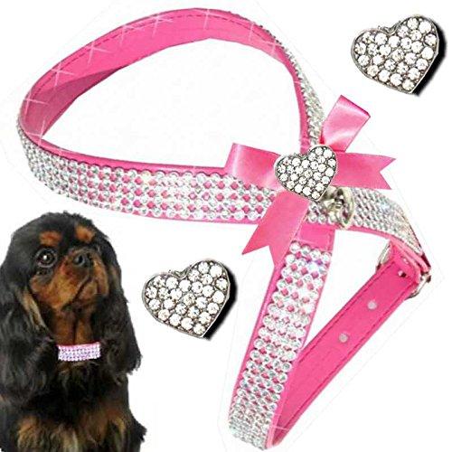 ♥ PINK KRONE Größe S ♥ Chihuahua Hundestrassgeschirr Brustgeschirr Softgeschirr Hundegeschirr aus Art Leder