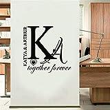 wandaufkleber 3d Wandtattoo Wohnzimmer Kundenspezifischer kreativer Paar-Name für Schlafzimmer-romantisches Zimmer Decoratio