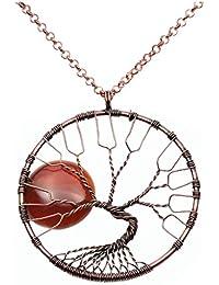 """QGEM Baum des Lebens Trommel Stein Anhänger Vollmond Edelsteine Handgefertigte Wire Wrap Bronze Halskette auf 18 """"Kette Schmuck"""