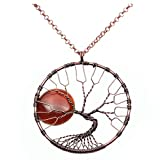 QGEM Baum des Lebens Trommel Stein Anhänger Vollmond Karneol Edelsteine Handgefertigte Wire Wrap Bronze Halskette auf 18 'Kette Schmuck