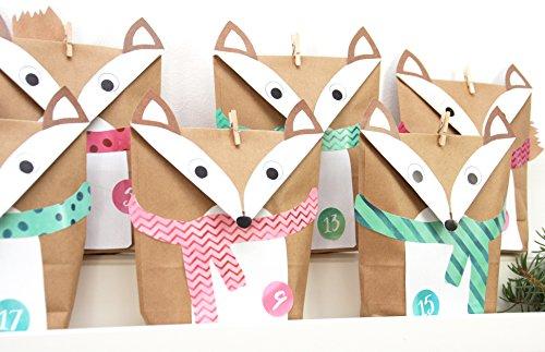 EinfachSchön Calendrier de l'Avent Renard Set Turquoise/Rose DIY, à faire soi-même, 24pochettes cadeaux pour fille à remplir, bricolage