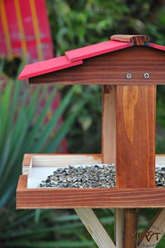 vogelhäuschen groß, mit ständer DACH ROT / Vogelhaus,wetterfest IN DUNKELBRAUN,VIERDAROT-dbraun001 NEU ,Vogelhäuser+Vogelhausständer,3D- -,Vogelfutterhaus,MIT-Futterstation Farbe braun dunkelbraun schokobraun rustikal klassisch,Ausführung Naturholz