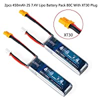 FancyWhoop Crazepony 2pcs 450mAh 2S 7.4V LiPo Battery Pack 80C with XT30 Plug for Micro FPV Racing Drone Quadcopter by FancyWhoop