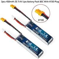 2pcs 450mAh 2S 7.4V LiPo batería Pack 80C con XT30 Plug para Micro FPV Racing Drone Quadcopter