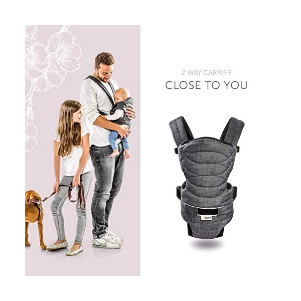 Hauck 2 Way Carrier, Ergonomic Baby Carrier Newborn to Toddler from Birth up to 12 kg, Softly Padded, Two Carrying Possibilities, High Level of Carrying Comfort, Melange Charcoal Hauck 2 carrying possibilities on the front Reinforced head and back area Safe and ergonomic baby carrier 4