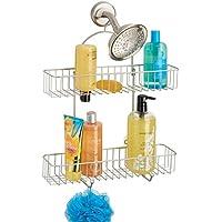 mDesign Repisas para baño sin taladros – Organizador de baño de metal inoxidable para champú, gel y otros – Estantes para baño para colgar de la ducha – Con 2 bandejas y 2 ganchos – plateado mate