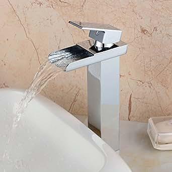 Hiendure® Laiton pont monté Cascade Bec Grand Robinets de salle de bains évier un levier Un trou, Chrome Terminer