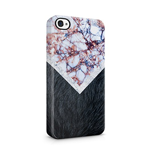 Black Striped Marble With Red Roses Apple iPhone 4 , iPhone 4S Snap-On Hard Plastic Protective Shell Case Cover Custodia Black Fur