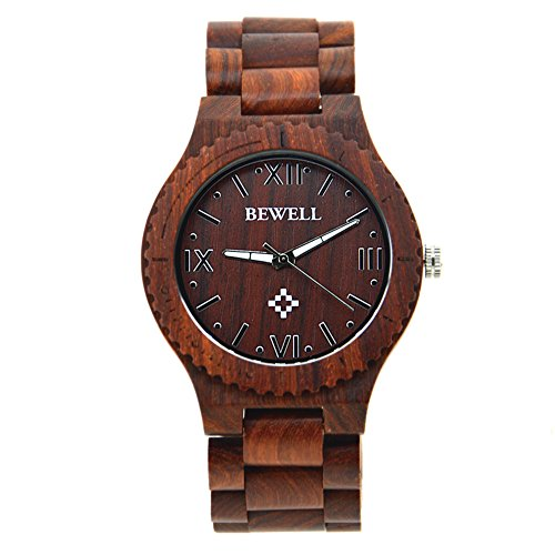 Men's wooden watch made of lightweight retro natural wood,handmade wooden watches with box suitable for Father's Day gift (Red)