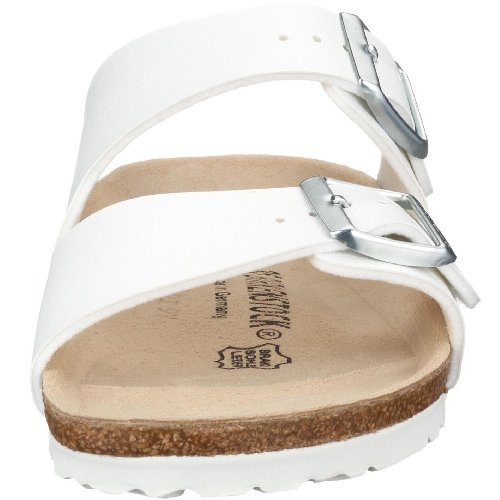 BIRKENSTOCK Damen Arizona Leder Pantoletten Weiß