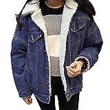 Donna Casual Giacche Capispalla Cappotto Caldo Giacca Jeans Outerwear Cappotti Blu L