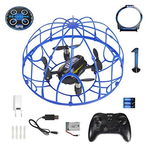 FPS RTF Bundle: Rayline RX3, Schwarz, 2.4G RC NANO Drohne Training Mini Quadrocopter, Trainingsdrohne mit Käfig, Übungsdrohne, 6 Achsen Gyro, flexibler Schutzkäfig, 3D Flips, inkl. Akku & 3xAA