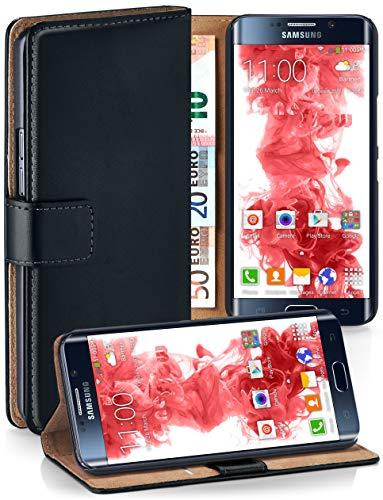 MoEx® Booklet mit Flip Funktion [360 Grad Voll-Schutz] für Samsung Galaxy S6 Edge | Geldfach und Kartenfach + Stand-Funktion und Magnet-Verschluss, Schwarz