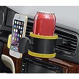PYRUS 2 in 1 Auto Multifunktionale Unterstützung für Plastikbecher / Smartphone & Support Getränkehalter & Support Telefon / Flasche / Dose (gelb)