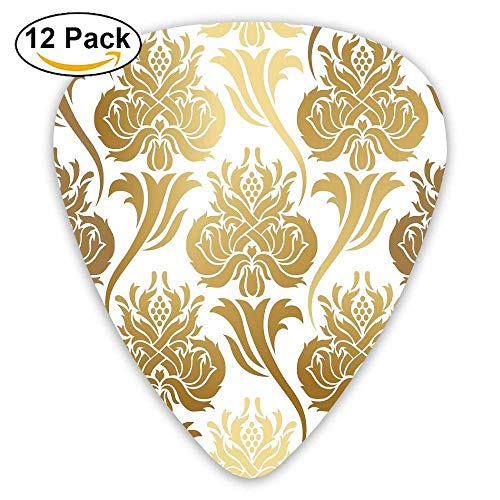 Damask Ombre Abstract Image With Floral East Asian Inspired Details Print Decorative Guitar Picks 12/Pack - Asian Floral Print