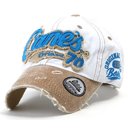ililily Distressed Vintage Cotton embroidered Baseball Cap Snapback Trucker Hut (ballcap-507-9)