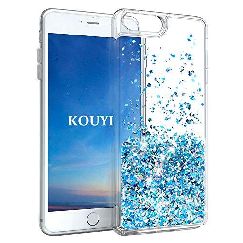 Preisvergleich Produktbild KOUYI iPhone 8 / 7 Plus Hülle Glitzer,  Luxus Fließen Flüssig Glitzer 3D Bling Dynamisch Silikon Flexible TPU Kreativ Shiny Glitter Cover Beschützer für Apple iPhone 8 Plus / iPhone 7 Plus (Silber Blau)