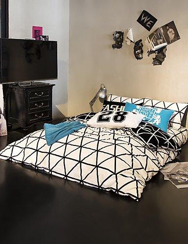 zug,weißes Dreieck Bettbezug setzt 100% Baumwolle Bettwäsche-Set Königin / Doppel / in voller Größe , queen ()