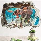 Effet 3D Moana À Travers Des Autocollants Muraux Pour Chambre D'Enfants De Bande Dessinée Film Vaiana Stickers Muraux Pvc Moana Maui Affiche Bricolage Papier Peint 50 * 70Cm