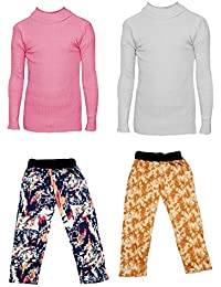 IndiStar Boys Combo Pack For Winter(Pack of 2 Printed Lower and 2 Wollen Full Sleeves T-Shirt/Inner/Skivvy )_Pink::White::Multicolor_3-4 Years_360171810110-0612-IW-P4-24