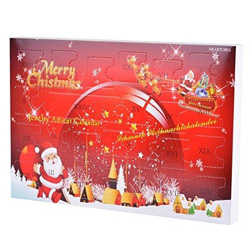 MJARTORIA Adventskalender Schmuck Weihnachtskalender Adventszeit mit 24 Überraschungen XMAS Modeschmuck Choker Kette Ohrring Armband Click Button Charms (Rot Weihnachtsmann)