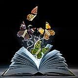 1PCS Magic Fairy Flying Butterfly auf dem Buch Schmetterling Gummi Band Powered Wind bis Schmetterling Mystical Prop Spielzeug Überraschung Hochzeit Geburtstag Kinder Geschenk (zufällig Farbe)
