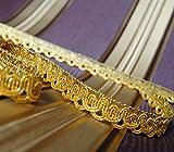 5,0 m x Luxus Metallisiertes Zierband 15 mm Lurex Gold Brokat Schmuckband Lurexband Brokat Spitze oder 10m,15m,20m uzw