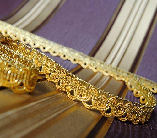 Mosel Avenue Art & Gobelin Studio 3,0 m x Luxus Metallisiertes Zierband 15 mm Lurex Gold/3,0-6,0-9,0m uzw/1,3 €/m/Bordüre Brokat Goldborte...