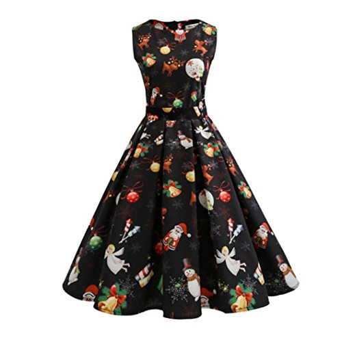 Freundinnen Für Halloween Beste Mädchen Kostüme (Weihnachten Kleid für Damen, Sansee Frauen Weihnachten Print Pin Up Swing Lace Party Panel Kleid (Schwarz,)
